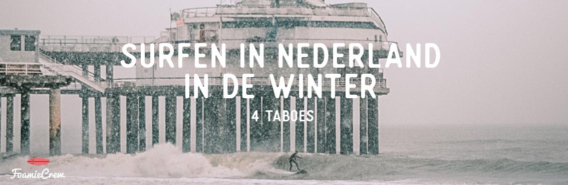surfen in de winter nederland